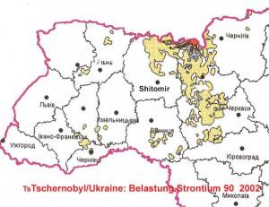 Strontium-90-Belastung in der West-Ukraine 2002. Die Karte zeigt einen leichten Rückgang.