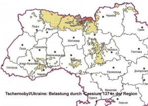 """Die Karte zeigt die Belastung mit Caesium 137 im Jahr 1986 in der Ukraine, Quelle: Ministerstvo Ukraini s litanj nadsvidtschainich situazji ta u spravach sachistu naselenija vid naslidkiv tschornobilskoi katastrofi"""", April 2003."""