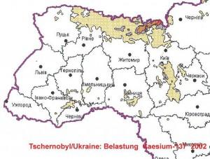 """Die Karte zeigt die Belastung mit Caesium 137 im Jahr 2002 in der Ukraine, Quelle: Ministerstvo Ukraini s litanj nadsvidtschainich situazji ta u spravach sachistu naselenija vid naslidkiv tschornobilskoi katastrofi"""", April 2003."""