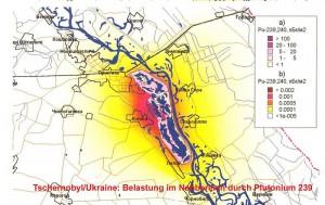 """Die Karte zeigt die Verseuchung mit hochradioaktivem Plutonium 239 in unmittelbarer Umgebung des Unglücksreaktors von Tschernobyl Quelle: Ministerstvo Ukraini s litanj nadsvidtschainich situazji ta u spravach sachistu naselenija vid naslidkiv tschornobilskoi katastrofi"""", April 2003."""