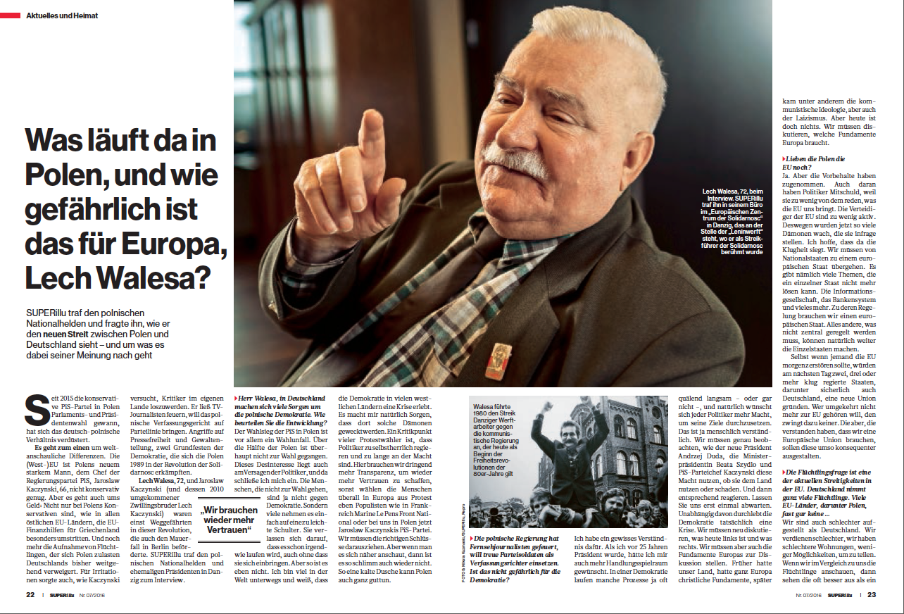 Interview mit Lech Walesa in SUPERillu Heft 7/2016