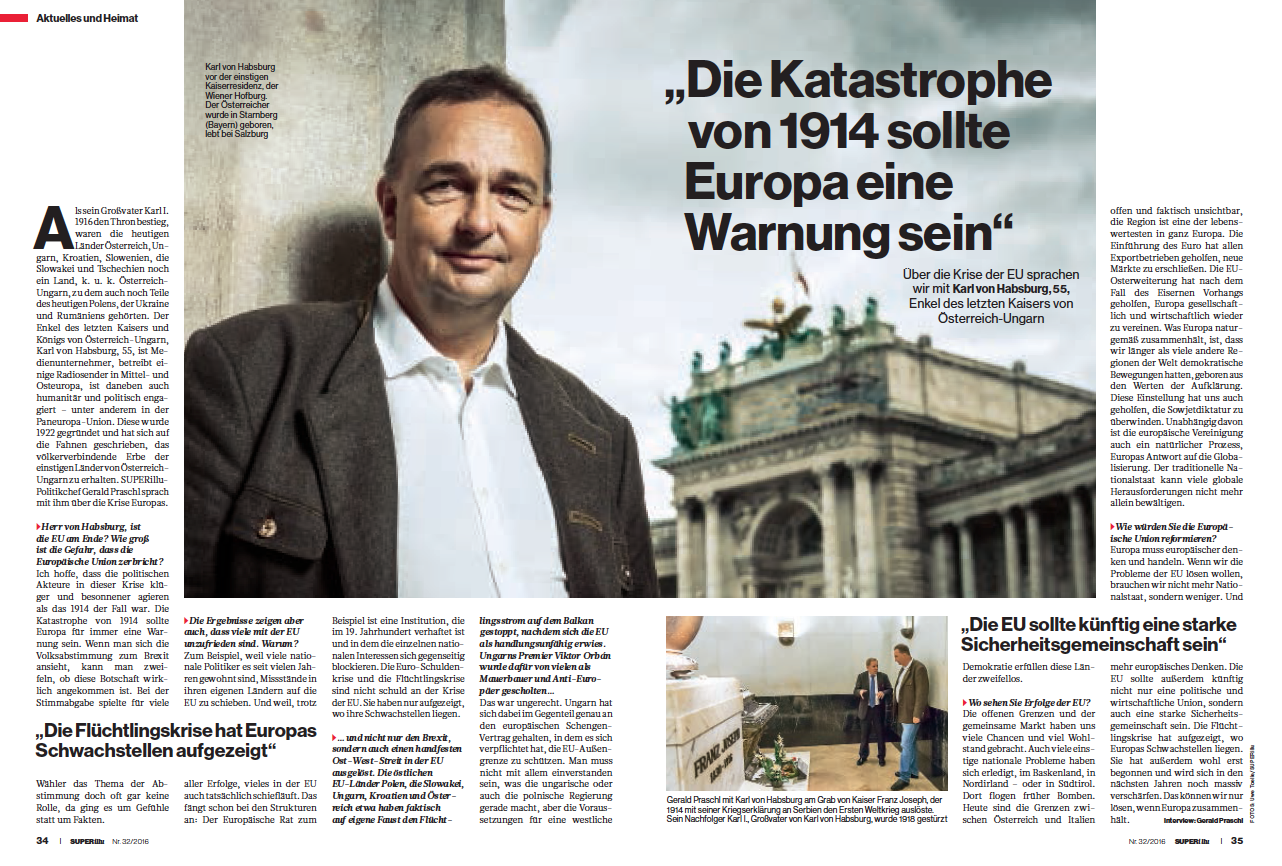 SUPERillu-Interview mit Karl von Habsburg in SUPERillu Heft 32/2016